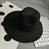 Шляпа женская фетровая Федора с широкими полями черная