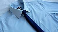 Тонкий параллельный синий галстук