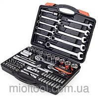 Набор насадок торцевых с трещотками 1/4'', 1/2'' и рожково-накидными ключами MIOL 58-130 82шт.