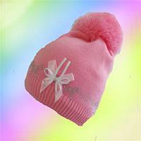 Шапка для девочки зимняя с помпоном