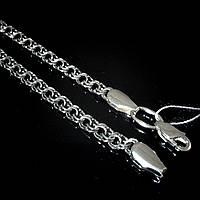 Серебряная цепочка, 600мм, 17 грамм, плетение Бисмарк, черненое серебро
