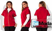 Модный женский жилет больших размеров из приятного кашемира с молнией впереди красный