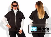Модный женский жилет больших размеров из приятного кашемира с молнией впереди черный
