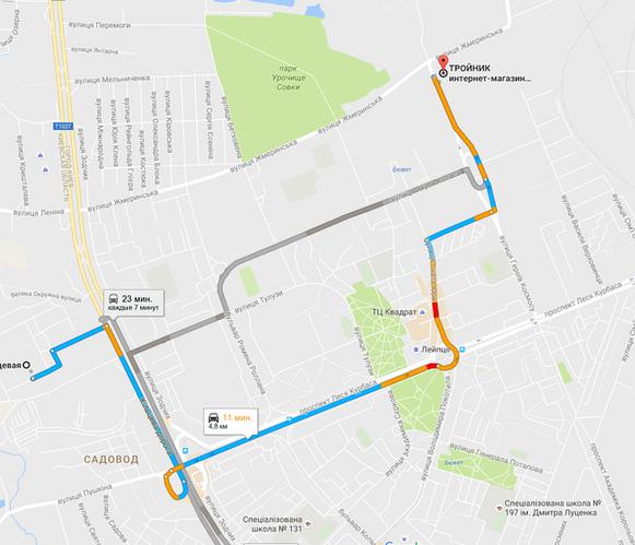 Схема подъезда к интернет-магазину troynik.kiev.ua