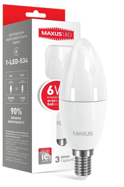 LED лампа Maxus С37 6W Яркий свет  220V Е 14