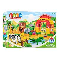 Конструктор JDLT 5030 Зоопарк, 76 деталей, дикие животные, арка, нетоксичный пластик