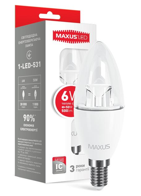LED лампа Maxus С37 6W Мягкий свет  220V Е 14