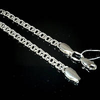 Серебряная цепочка, 500мм, 13 грамм, плетение Бисмарк, светлое серебро