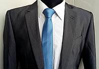 Галстук тонкий узкий голубой