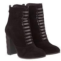 Ботильоны женские Kluchini (черные, замшевые, на высоком каблуке, стильные, изысканные, удобные)