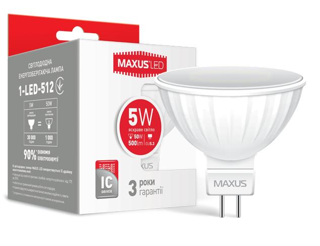 LED лампа Maxus MR16 5W Нейтральный свет  220V GU5.3AР