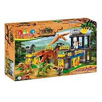Конструктор Динозавр JDLT 5243, 135 деталей, 3 фигурки динозавров, птеродактиль, 4 человечка