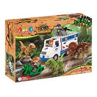 Конструктор Динозавр, игра JDLT 5248, 35 деталей, 3 динозавра, 3 фигурки человечков, авто, мотоцикл
