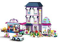 Детский конструктор для девочек SLUBAN M38-B0579, 972 элемента, 10 фигурок, отель, кафе, магазин
