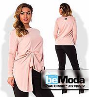 Привлекательная женская кофта больших размеров с необычной ассиметрией впереди розовая