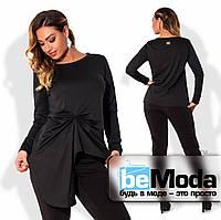 Привлекательная женская кофта больших размеров с необычной ассиметрией впереди черная