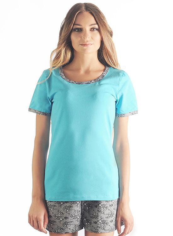 Женская хлопковая  пижама (шорты+футболка)