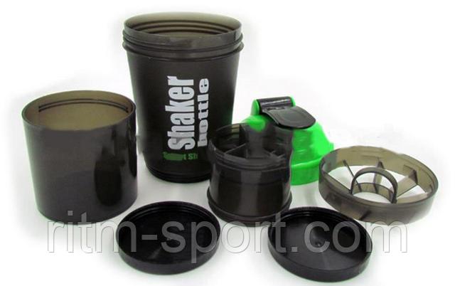 Спортивный шейкер состоит из трех камер, емкость для воды, порошка и капсул. Шейкер имеет надежную крышку с поилкой и сеточку для размешивания смесей.