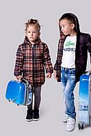 """Куртка Детская двухсторонняя """"клеточка и коричневый мальчик+девочка"""