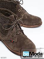 Женские ботинки L&M современного фасона на низкой подошве, с изящными отворотами и шнурками цвета хаки