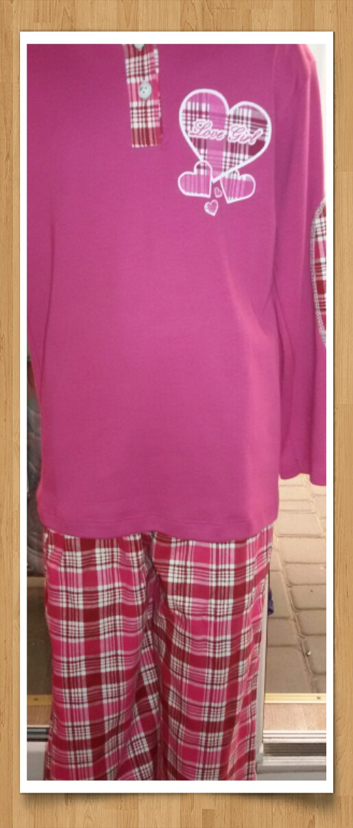 """Пижама или домашний костюм для девочки """"Сердце в клетку"""""""