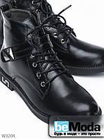 Современные ботинки Meideli на шнурках, со стильными пряжками и серебристой фурнитурой чёрные