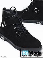 Модные замшевые ботинки Meideli на шнурках, со стильными пряжками и серебристой фурнитурой чёрные