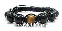 Мужской кожаный браслет из Агата и Тигрового глаза