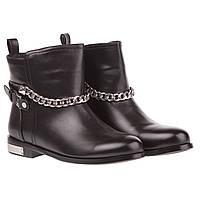 Ботинки женские Summergirl (черные, на низком ходу, стильные, удобные, с оригинальной цепочкой)