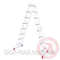 Лестница алюминиевая  4x4 ступ. 4,75 м INTERTOOL LT-0029 - При заказе сегодня - скидка 18,5%