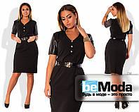 Привлекательное женское платье приталенного кроя с рукавами из перфорированной экокожи черное
