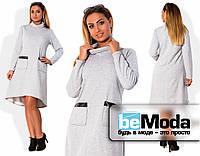 Утепленное женское платье свободного кроя из двухнитки с оригинальными накладными карманами для девушек с пышными формами меланж