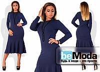 Нарядное удлиненное женское платье из креп-дайвинга больших размеров с оригинальной клешной юбкой темно-синее