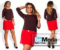 Милое женское платье из приятного материала с цветным верхом в мелкий горох и однотонной юбкой красное