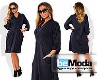 Эффектное женское платье больших размеров из французского трикотажа свободного кроя со сборками на груди и на рукавах темно-синее