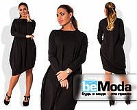 Стильное женское платье оригинального свободного кроя с ассиметрией по краю низа для девушек с пышными формами черное