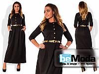 Модное женское платье больших размеров с приталенным верхом и расклешенной длинной юбкой с золотым пояком в комплекте черное