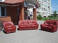 Комплект кожаной мебели 3+2+1. Цвет: бордо. Германия