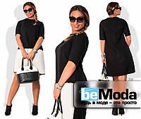 Необычное женское платье больших размеров из рогожки Шанель с контрастной вставкой на юбке черное