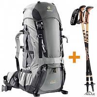 Рюкзак+палки  Aircontact 75+10 + LEKI цвет 4700 granite-black