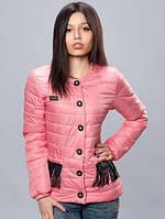 Женская куртка карманы с бахромой из эко кожи