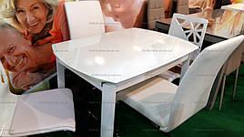 Стіл скляний розкладний DST-102 (BL002) DAOSUN, білий