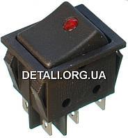 Тумблер 2 положения 6 контактов 25*32 mm светодиод 16A