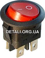 Тумблер с подсветкой круглый 2 положения 4 контакта d23 mm 6A