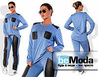 Милый женский спортивный костюм для девушек с пышными формами со вставками из экокожи на брюках и на кофте синий
