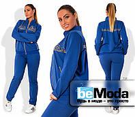 Стильный женский спортивный костюм больших размеров из кофты с блестящими украшениями и прямых брюк цвета электрик