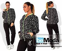 """Модный женский спортивный костюм больших размеров из кофты с принтом """"звезды"""" и однотонных брюк с надписью черный"""