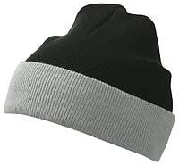 Вязаная шапка с отворотом комбинированая цвет черный/серый mb7550