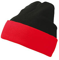 Вязаная шапка с отворотом комбинированая цвет черный/красный mb7550