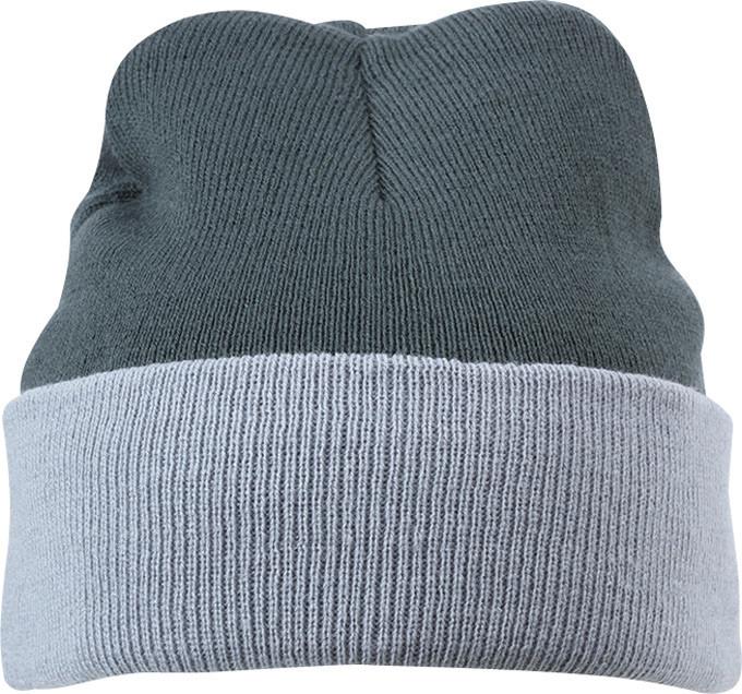 Вязаная шапка с отворотом комбинированая цвет тёмно-серый/светло-серый mb7550